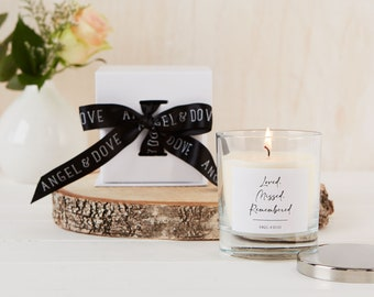 Loved Missed Remembered - Gift Boxed Remembrance Candle with Silver Lid