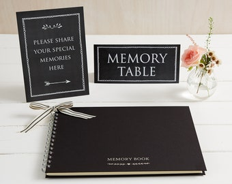 Large A4 Luxury Black Memory Book & 2 Signs Set - Perfect for Funeral Condolence Book, Celebration of Life, Remembrance, Memorial
