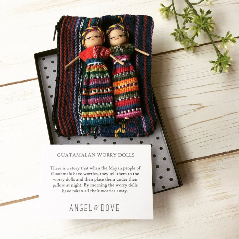 Remembrance Comforting Condolence Bereavement Sympathy Gift: Fair Trade Guatemalan Worry Dolls Boxed Gift Set