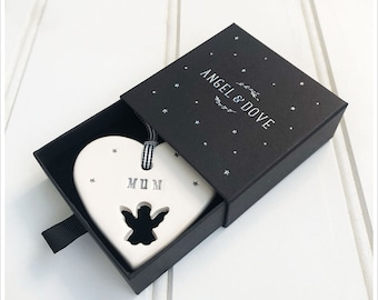 Mum Ceramic Heart Remembrance Decoration - Sympathy, Memorial Gift in Luxury Gift Box