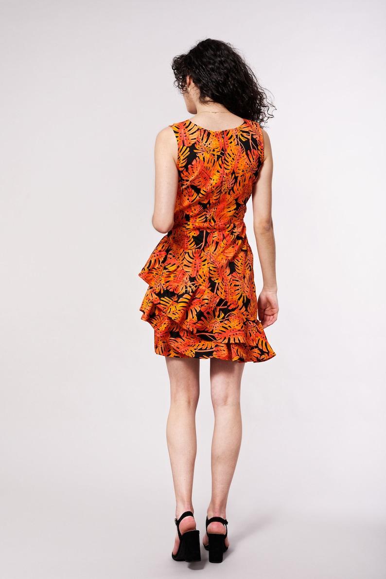 Short dress with bottom ruffles  Orange summer dress  African print dress  African couture  African clothing for women