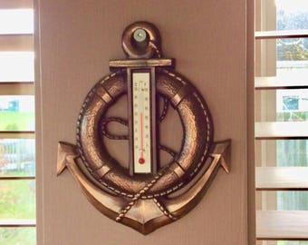 Vintage Copper Anchor Thermometer