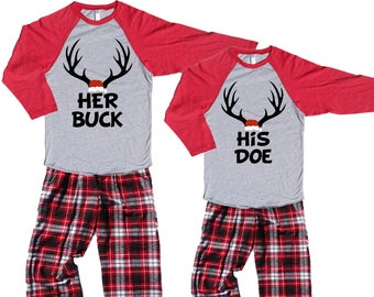his doe her buck fun couples novelty christmas pajamas holiday parties christmas eve matching christmas traditions 449