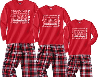 1a388ee6eb2 Merry Christmas Pajamas for Whole Family in Around the World Languages