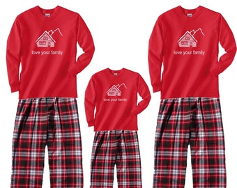 71929101aa Holiday Red Cabin Mountain Retreat Family Matching Outfits for Adult