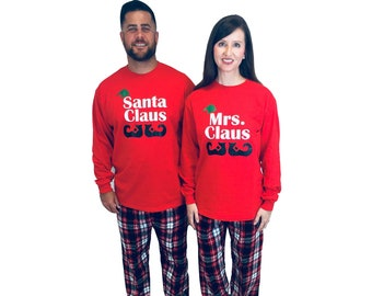 1d57aa6210 Family Christmas Pajamas - Santa Claus   Mrs. Claus Personalized Holiday  Family PJs - Matching Family Pajamas for Couples (954)
