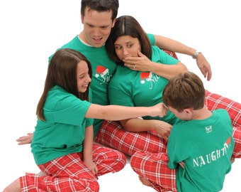 Naughty or Nice Family Matching Christmas Pajamas Holiday Tee and Pant Sets  in sizes for Adults - Matching Playwear for Kids c9f442707