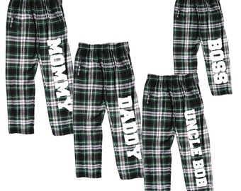 40bd1b5980 Personalized Family Pajama Pants for the Whole Family - Input Your Text to  Create Custom Matching PJs - Holiday Green Christmas Pajamas (GW)