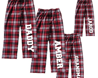 personalized family pajama pants custom text to personalize fun pj flannel pants for the whole family christmas pajamas for family crb