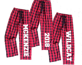 328d11383d Personalized Flannel Pajama Pants - Custom Text for Back to School Dorm  Pajama Pants