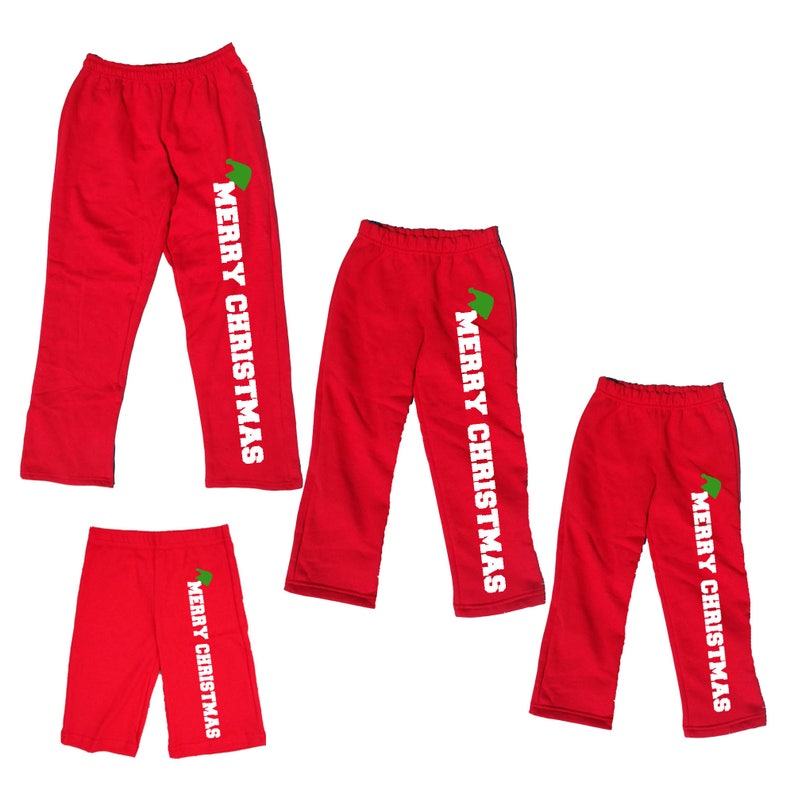 e43c36e7dc89 MERRY CHRISTMAS Red Pajama Pants for Family Holiday PJ Pants