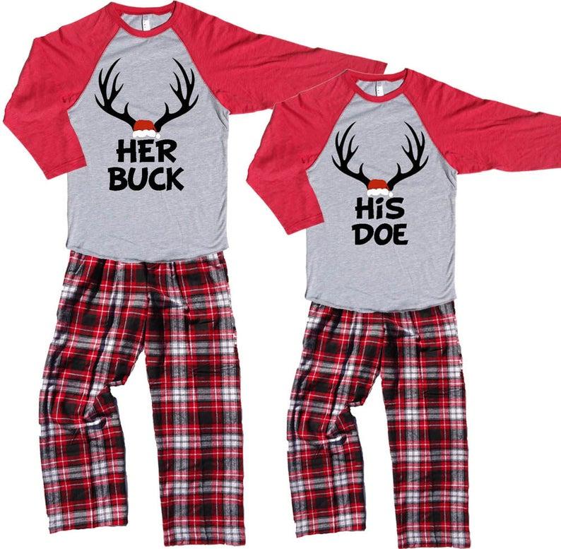 e6b3cd0135 His DOE   Her BUCK Fun Couples Novelty Christmas Pajamas