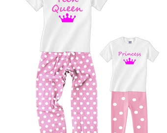 Custom Text Pink Polka Dot Pajamas for Women and Girls with Crown - Choose YOUR OWN TEXT, Princess, Queen, Angel, Name, etc