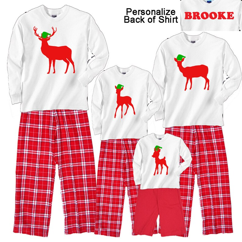 Personalized Holiday DEER FAMILY Christmas Pajamas for Adults  a8ab2d702