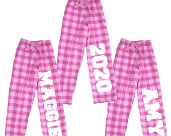 Personalized Pink Bubblegum Pajama Pants - Customize your Text for Back to School, College, Dorm, Graduation, Mother Daughter time (GUM)