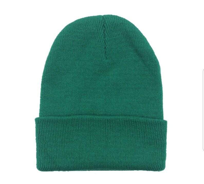 Solid Dark Green Unisex Winter Beanie