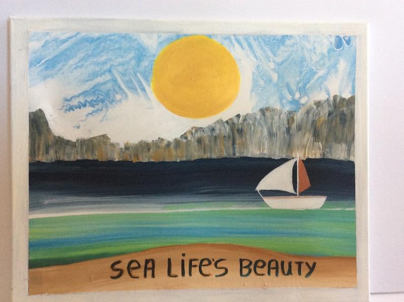 73f2d75bc Sea lifes beauty with fantasy ocean sky sail boat | Etsy