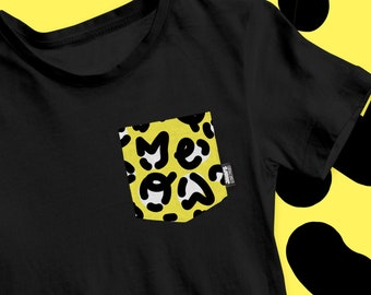 """Pocket T-Shirt - CHILD and TEEN - """"Leopard-Meow"""" / Unisex / 2T at 12 years old - Black or White T-shirt"""