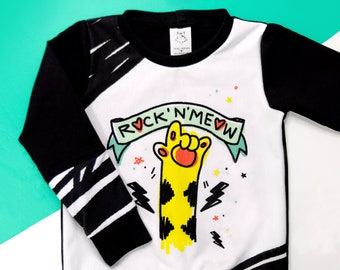 Crewneck ENFANT / Sweat / Long-handled sweater - ROCK'N'MEOW / Unisexe / French Terry - 4 sizes available