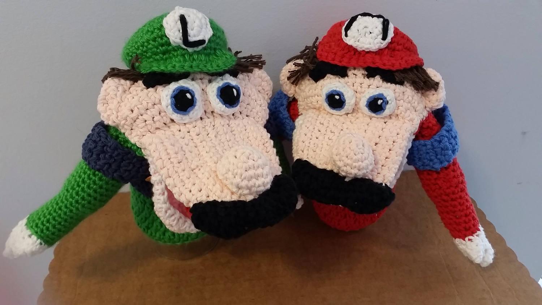 Handmade Crocheted Hand Puppets Of Mario And Luigi Etsy