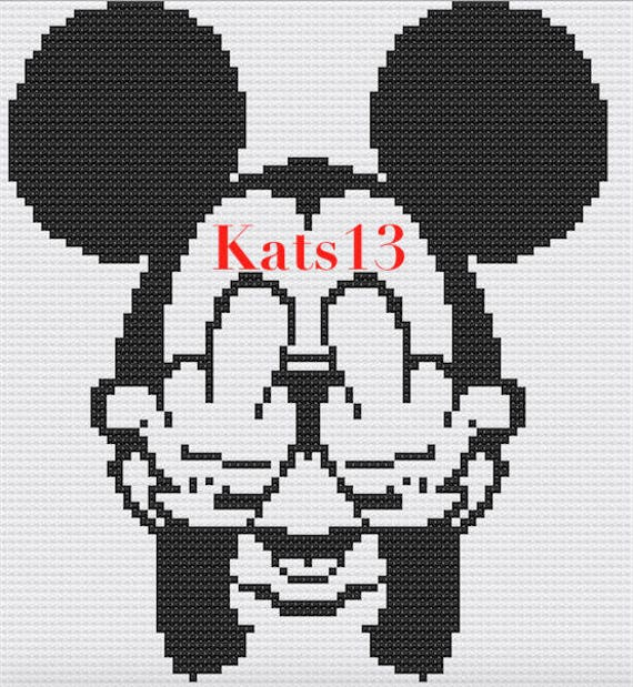 Artículos similares a Mickey Mouse Fuck petit Disney broderie point ...