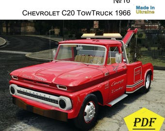 Paper Model Kit Chevrolet C20 TowTruck 1966 Papercraft 3D Craft Printable Car Diy How To Make Origami Pepakura
