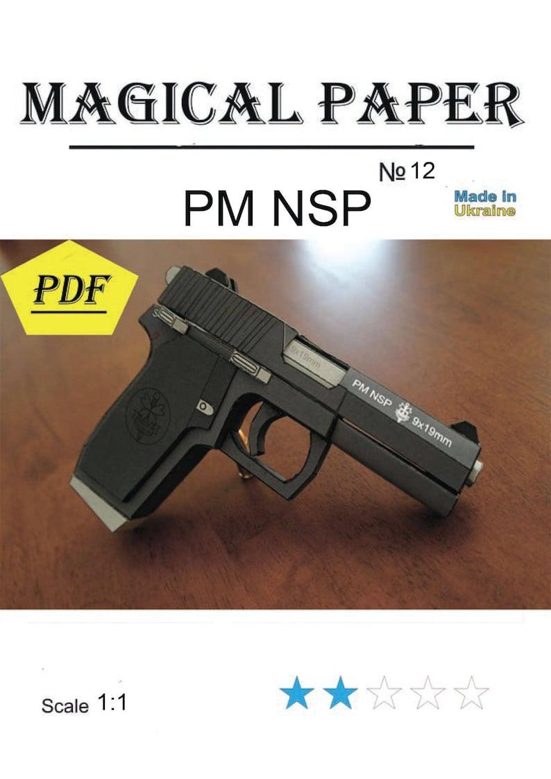 Guns, PM NSP,scale 1:1, paper model kit,3D paper craft model, printable,  diy how to make, origami, pepakura kit