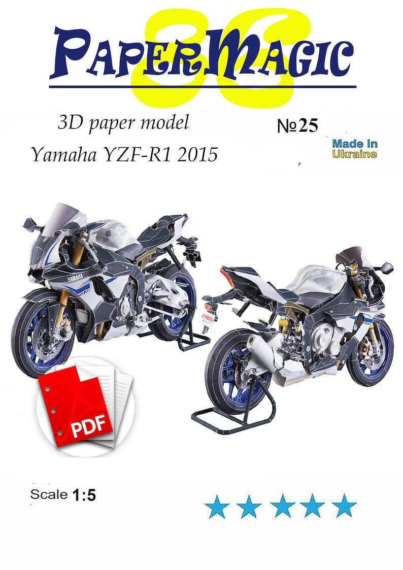 Paper Model Kit Yamaha Yzf R1 2015 Papercraft 3d Paper Craft Model Printable Car Moto Diy How To Make Origami Pepakura Kit
