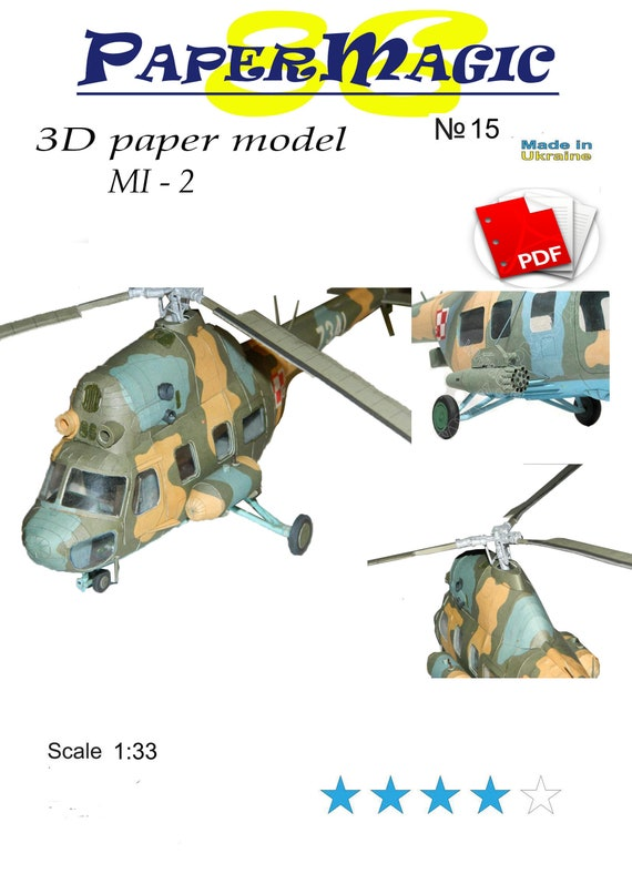 Helicopter Mi 2paper Model Kit 3d Paper Craft Model Etsy