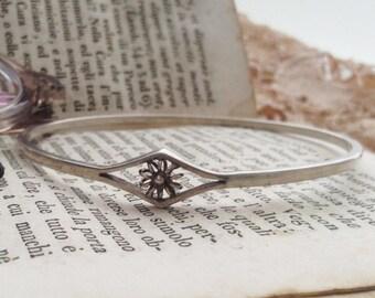 Silver bracelet flower detail, vintage bangle bracelet