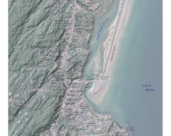 Coastal Ogunquit, Maine Relief Map