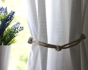 Rustic and Nautical Organic Cotton Rope Curtain Tie Back