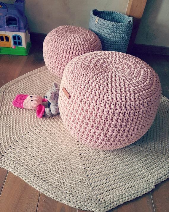 Pale Pink Pouf 16 Stuffed Hand Crochet Ottoman Pouf Etsy