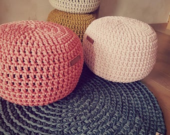 Coral Hand Crochet Pouf Ottoman STUFFED- Footstool Pouf - Bean Bag Chairs - Crochet Floor Cushions -Footstool-Nursery Decor