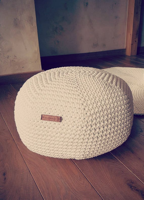 Admirable White Off White Pouf Furniture Kids Furniture Bean Bag Chairs Nursery Decor Footstool Crochet Pouf Ottoman Creativecarmelina Interior Chair Design Creativecarmelinacom