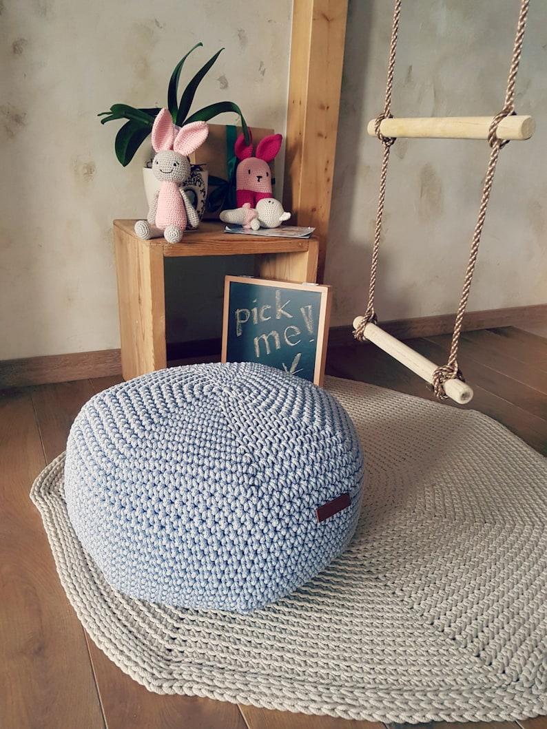 Fabulous On Sale Light Blue Pouf Cover Crochet Footstool Pouf Bean Bag Chairs Crochet Floor Cushions Kids Furniture Home Decor Ottoman Cjindustries Chair Design For Home Cjindustriesco