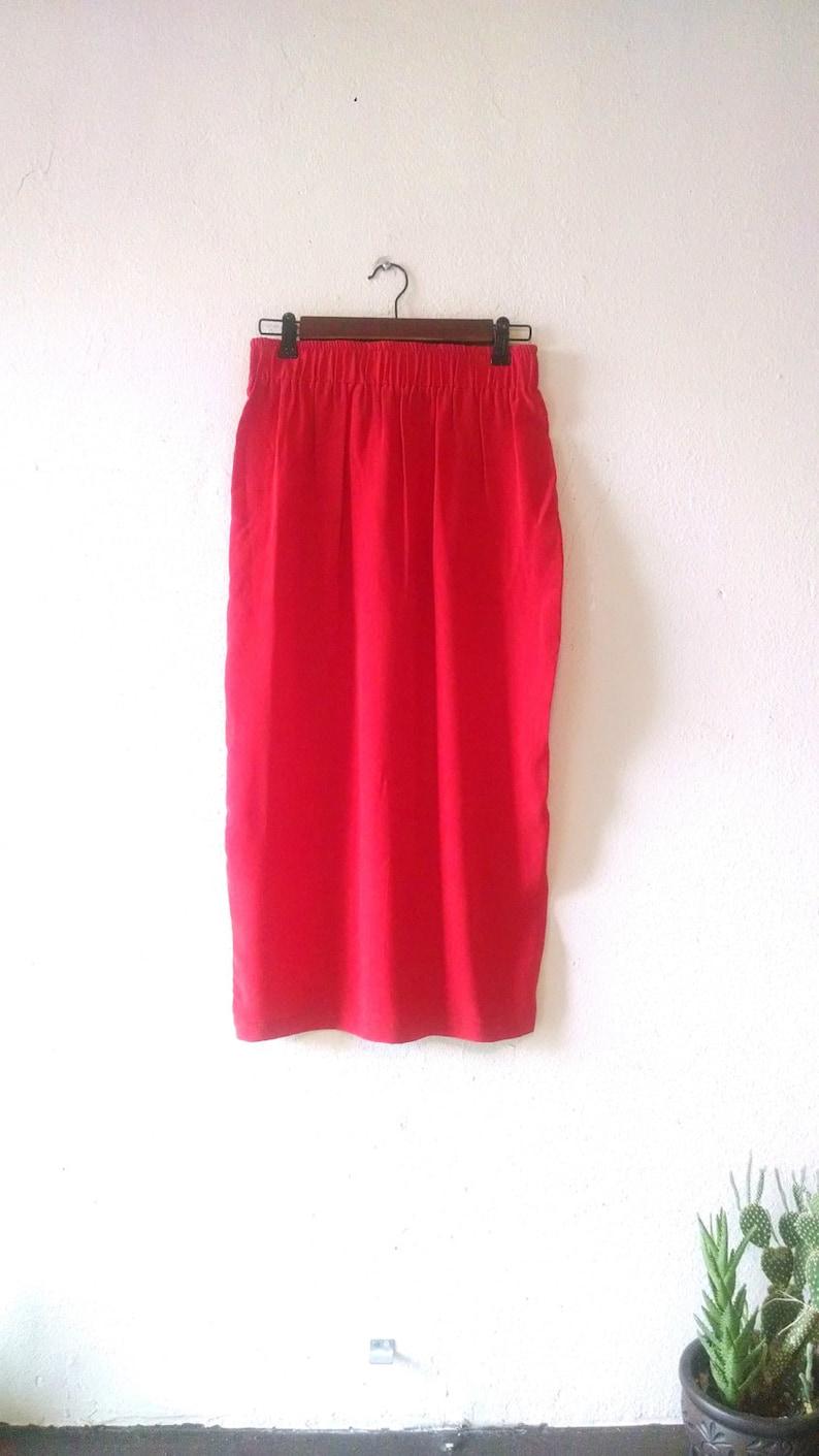 b97055e6be Vintage Red Silk Midi Skirt Mosswear 80s medium large 8 10