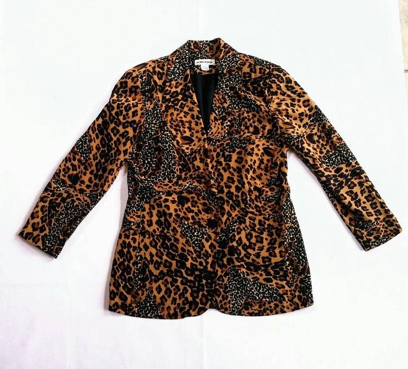 c80f75d5d9cc60 Vintage Leopard Print Silk Blazer Regina Porter cheetah