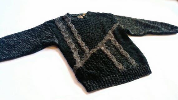 ba5fe1b1a Vintage Black and Charcoal Gray Warm Knit Sweater Saturdays