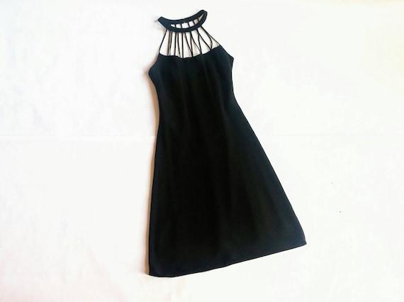 Vintage Strappy Black Halter Neck Dress Evan Picone 6 4 Etsy