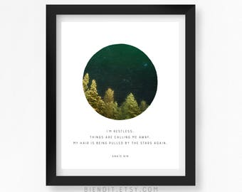 My Hair is Being Pulled by the Stars Again, Anais Nin, Quote Print, Literary Quote, Skyscape, Starry Sky, Minimalist Art