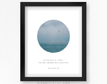 Let Me Fall If I Must, Baal Shem Tov, Quote Print, Quote Poster, Literary Quote, Skyscape, Inspirational Quote, Bird, Minimalist Art