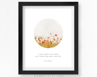 I Wish I Were a Girl Again, Emily Bronte, Quote Print, Literary Quote, Wuthering Heights, Literary Print