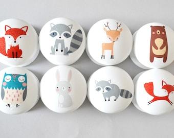 Woodland Animal  Drawer Knobs, Drawer Pulls, Dresser Pulls, Children's Room, Nursery Decor, Nursery, Forest Animal knobs, knobs, Kids Knobs.