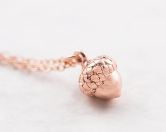 Acorn necklace, rose gold, acorn pendant, minimalist jewelry, layering necklace, woodland jewelry, tiny acorn charm, gift for her, pink gold