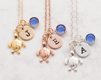 Turtle necklace, silver gold or rose gold, personalized jewelry, swarovski birthstone, initial necklace, turtle jewelry, gift for her, beach