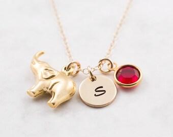 Elephant necklace, gold filled chain, personalized jewelry, swarovski birthstone, elephant jewelry, initial necklace, gold elephant pendant