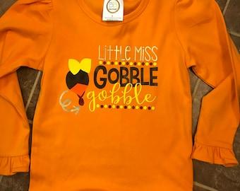 Little Miss Gobble Gobble shirt, Girl's Thanksgiving shirt, Gobble Gobble