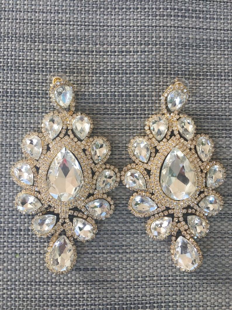 12 cm Large Rhinestone Statement Earrings goldclear coloured