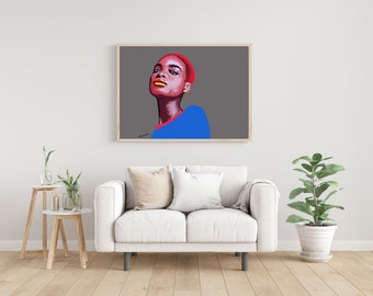 Contemporary painting  woman printable wall art, Woman drawing, Fashion poster, Female art poster